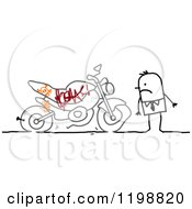 Mad Stick Man Discovering Grafitti On His Motorocyle