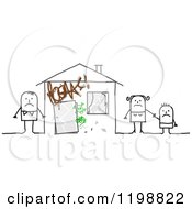 Clipart Of A Sad Stick Family At Their Vandalized Home Royalty Free Vector Illustration by NL shop