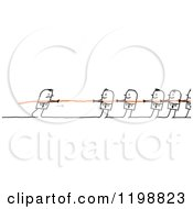 Clipart Of Stick People In A Battle Of Tug Of War One Mat Partially Out Of The Image Royalty Free Vector Illustration
