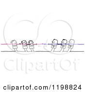 Clipart Of Stick People In A Battle Of Tug Of War Women Vs Men Royalty Free Vector Illustration