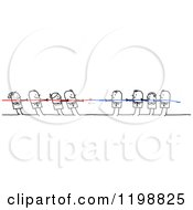 Clipart Of Stick People In A Battle Of Tug Of War Royalty Free Vector Illustration