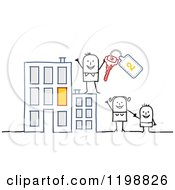 Clipart Of A Happy Stick Family With Keys At An Apartment Building Royalty Free Vector Illustration