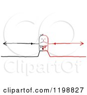 Clipart Of A Stretched Split Black And Red Stick Businessman With Arrows Royalty Free Vector Illustration