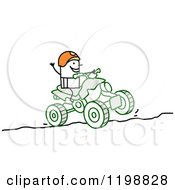 Stick Man Riding A Quad Atv