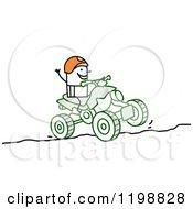 Stick Man Riding A Quad Atv