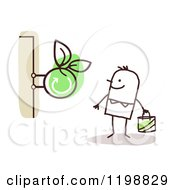 Clipart Of A Happy Stick Man At An Organic Store Royalty Free Vector Illustration