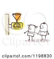 Clipart Of A Happy Stick Couple At A Bar With A Cocktail Sign Royalty Free Vector Illustration