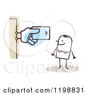 Clipart Of A Happy Stick Man At An Atm Machine With A Credit Card Sign Royalty Free Vector Illustration