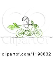 Stick Biker On A Green Motorcycle