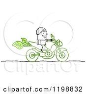 Stick Biker On A Green Motorcycle