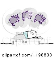 Clipart Of A Stick Man Having A Nightmare About Dogs Royalty Free Vector Illustration