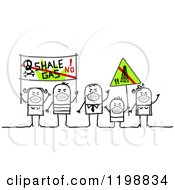 Clipart Of Stick People Protesting Pollution Royalty Free Vector Illustration