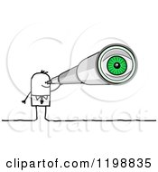 Clipart Of A Stick Businessman Using A Telescope With A Green Eye Visible Royalty Free Vector Illustration