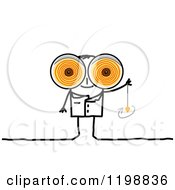 Clipart Of A Stick Therapist With Big Swirly Hynotic Eyes And A Swinging Pendulum Royalty Free Vector Illustration
