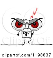 Clipart Of A Stick Businessman With Giant Red Angry Eyes Royalty Free Vector Illustration