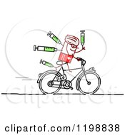 Clipart Of A Stick Tour De France Bicyclist With Syringes Royalty Free Vector Illustration