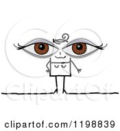 Clipart Of A Stick Woman With Giant Brown Eyes Royalty Free Vector Illustration