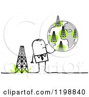 Clipart Of A Stick Businessman Holding A Globe Of Towers Royalty Free Vector Illustration