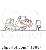Clipart Of A Stick Man Watching His Car Get Towed Royalty Free Vector Illustration