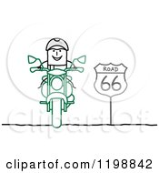 Clipart Of A Happy Stick Man Biker On Route 66 Royalty Free Vector Illustration by NL shop