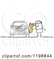 Clipart Of A Stick Man Mechanic Holding A Wrench By A Car Royalty Free Vector Illustration by NL shop