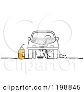 Clipart Of A Stick Man Mechanic Performing An Oil Change Royalty Free Vector Illustration by NL shop