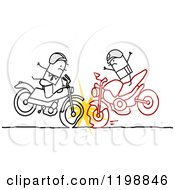 Clipart Of Two Stick Men Bikers Crashing Their Motorcycles Royalty Free Vector Illustration by NL shop