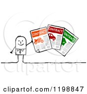 Clipart Of A Happy Stick Man Holding Insurance Contracts Royalty Free Vector Illustration
