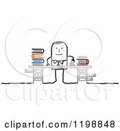Clipart Of A Happy Stick Businessman Stamping Paperwork At His Desk Royalty Free Vector Illustration by NL shop