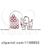 Clipart Of A Stick Man Holding Bottles In His Wine Cellar Royalty Free Vector Illustration by NL shop