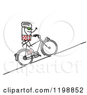 Clipart Of A Stick Tour De France Bicyclist Riding Uphill Royalty Free Vector Illustration