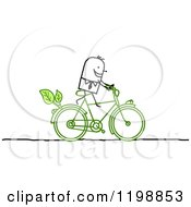 Happy Stick Man Riding A Green Bicycle With Leaves by NL shop