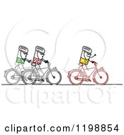 Clipart Of Stick People Riding Bikes In Tour De France Royalty Free Vector Illustration by NL shop