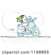 Clipart Of A Happy Stick Woman On A Scooter Royalty Free Vector Illustration by NL shop