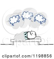 Clipart Of A Stick Man Dreaming Of Sheep Royalty Free Vector Illustration