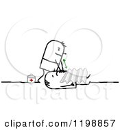 Clipart Of A Stick Paramedic Man Helping A Victim Royalty Free Vector Illustration