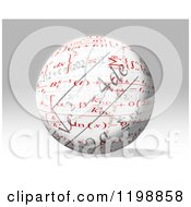 Clipart Of A 3d Sphere With Mathematic Fomulas Over Gray Royalty Free CGI Illustration