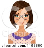 Clipart Of A Beautiful Brunette Secretary Woman Wearing Glasses Royalty Free Vector Illustration