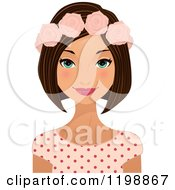 Clipart Of A Beautiful Brunette Woman Wearing A Floral Crown Royalty Free Vector Illustration by Melisende Vector