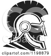 Clipart Of A Black And White Trojan Warrior Helmet Royalty Free Vector Illustration