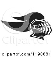 Clipart Of A Black And White Knight Helmet Royalty Free Vector Illustration
