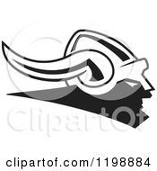 Clipart Of A Black And White Viking Helmet Royalty Free Vector Illustration