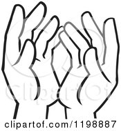 Clipart Of Black And White Uplifted Hands Royalty Free Vector Illustration by Johnny Sajem