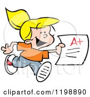 Cartoon Of A Happy Blond School Girl Running With An A Plus Report Card Royalty Free Vector Clipart by Johnny Sajem