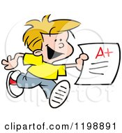 Happy School Boy Running With An A Plus Report Card