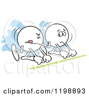 Cartoon Of Determined And Nervous Moodie Characters Ready To Race Royalty Free Vector Clipart by Johnny Sajem