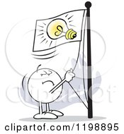 Cartoon Of A Moodie Character Flying A Lightbulb Flag Royalty Free Vector Clipart