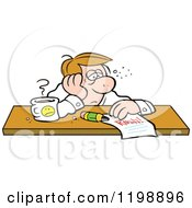 Cartoon Of An Exhausted Businessman Doubtful Of Making His Deadline Royalty Free Vector Clipart by Johnny Sajem