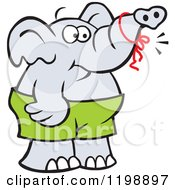 Cartoon Of A Forgetful Elephant With A Reminder Ribbon On His Trunk Royalty Free Vector Clipart by Johnny Sajem