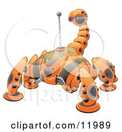 Orange Web Crawler Scorpion Robot Clipart Illustration by Leo Blanchette